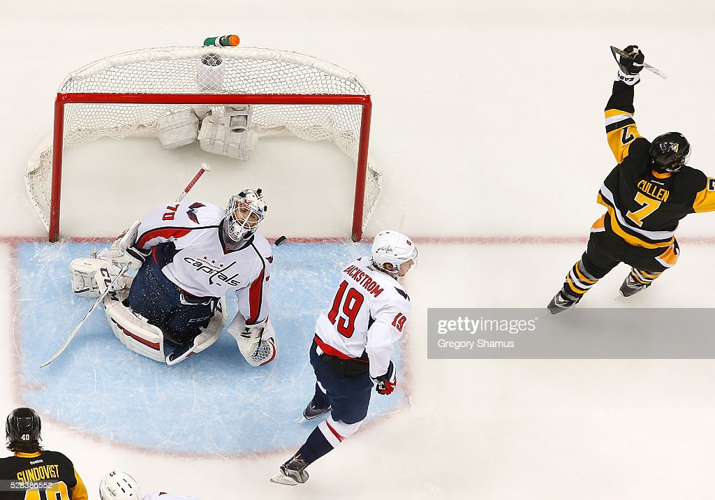 Matt Cullen #7 of the Pittsburgh Penguins celebrates his goal in front of Braden Holtby #70 and Nicklas Backstrom #19 of the Washington Capitals in Game Four of the Eastern Conference Second Round during the 2016 NHL Stanley Cup Playoffs at Consol Energy Center on May 2, 2016 in Pittsburgh, Pennsylvania.