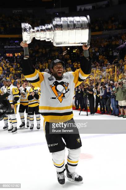 Matt Cullen of the Pittsburgh Penguins celebrates with the Stanley Cup Trophy after they defeated the Nashville Predators 20 in Game Six of the 2017...