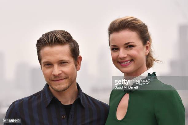 Matt Czuchry and Emily VanCamp pose in London to promote their new medical TV drama 'The Resident' on April 10 2018 in London England