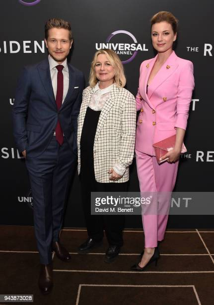 Matt Czuchry Lucie Cave and Emily VanCamp attend the screening of The Resident premiering on Universal Channel Tuesday 10th April at 9pm with Matt...