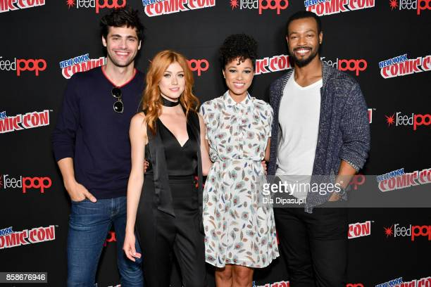 Matt Daddario Katherine Mcnamara Alisha Wainwright and Isaiah Mustafa speak at the Freeform Shadow Hunters and Beyond Photo Call during 2017 New York...