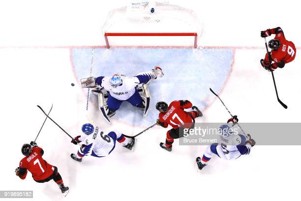 Matt Dalton of Korea makes a save against Canada in the third period during the Men's Ice Hockey Preliminary Round Group A game on day nine of the...