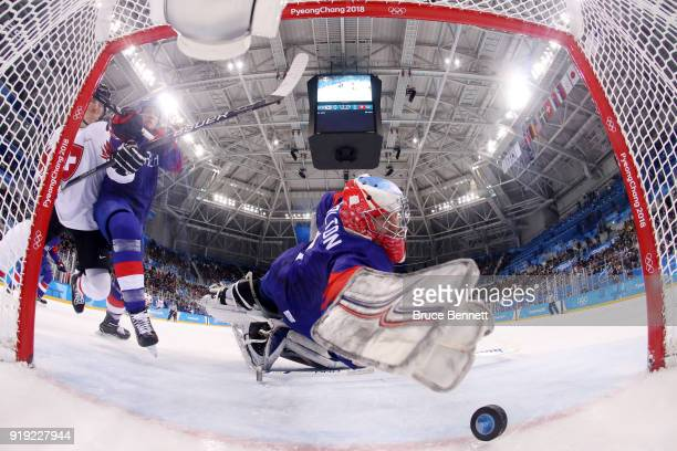 Matt Dalton of Korea tries to make a save against Switzerland during the Men's Ice Hockey Preliminary Round Group A game on day eight of the...