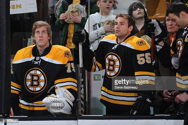 Matt Dalton of the Boston Bruins on the bench during the National Anthems before the game against the Toronto Maple Leafs at the TD Garden on March 4...