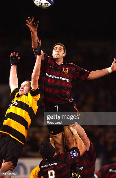 Matt Dalzell competes for lineout ball with Paul Tito during Canterburys' 3227 win over Taranaki in the Ranfurly Shield NPC first division rugby...