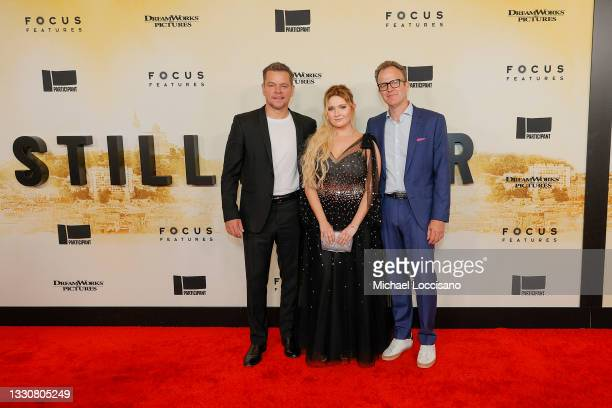 """Matt Damon, Abigail Breslin and Tom McCarthy attend the """"Stillwater"""" New York Premiere at Rose Theater, Jazz at Lincoln Center on July 26, 2021 in..."""
