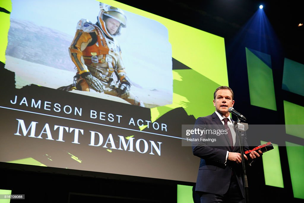 Matt Damon accepts the Jameson Best Actor award on stage during the Jameson Empire Awards 2016 at The Grosvenor House Hotel on March 20, 2016 in London, England.