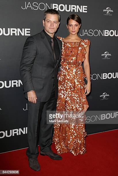 Matt Damon and Alicia Vikander arrive ahead of the Jason Bourne Australian Premiere at Hoyts Entertainment Quarter on July 3 2016 in Sydney Australia
