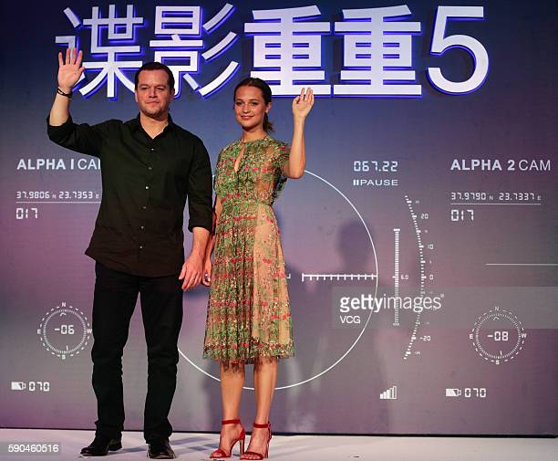 Matt Damon and Alicia Vikander attend the 'Jason Bourne' Press Conference at Phoenix Center on August 16 2016 in Beijing China