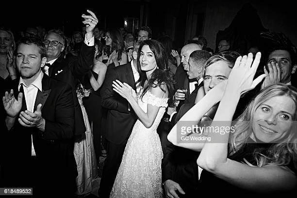 Matt Damon and Amal Alamuddin attend George Clooney and Amal Alamuddin Wedding on September 27 2014 in Venice Italy