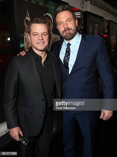 Matt Damon and Ben Affleck attend the premiere Of Warner Bros Pictures' 'Live By Night' at TCL Chinese Theatre on January 9 2017 in Hollywood...