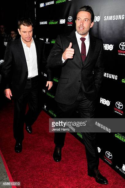 Matt Damon and Ben Affleck attend the 'Project Greenlight' event at Boulevard3 on November 7 2014 in Hollywood California