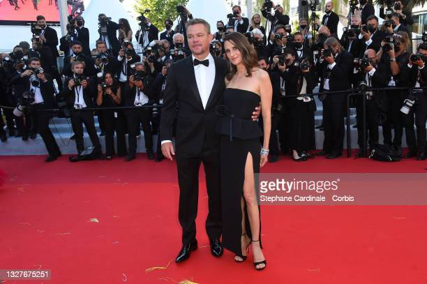 """Matt Damon and Camille Cottin attend the """"Stillwater"""" screening during the 74th annual Cannes Film Festival on July 08, 2021 in Cannes, France."""