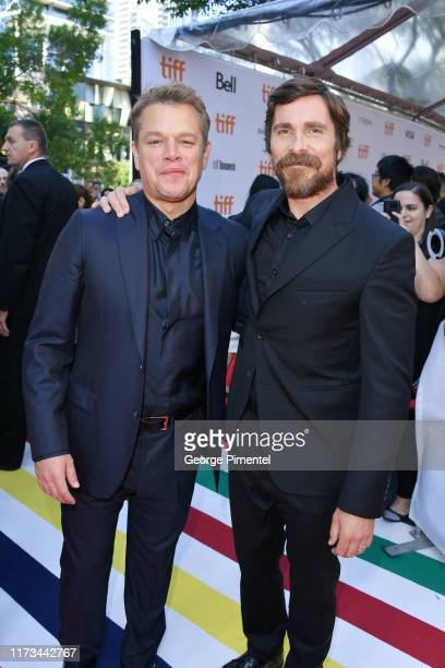 Matt Damon and Christian Bale attend the Ford v Ferrari premiere during the 2019 Toronto International Film Festival at Roy Thomson Hall on September...