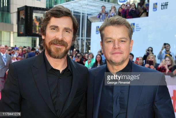 Matt Damon and Christian Bale attends the Ford v Ferrari premiere during the 2019 Toronto International Film Festival at Roy Thomson Hall on...