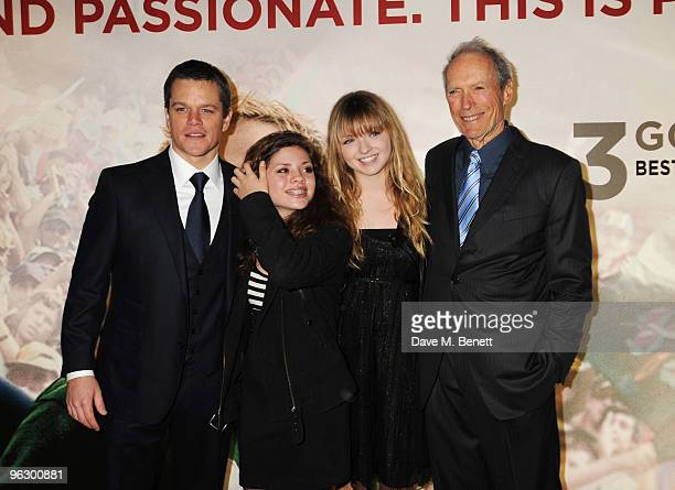 Matt Damon and Clint Eastwood with his daughters Francesca and Morgan arrive at the UK film premiere of 'Invictus', at Odeon West End on January 31,...