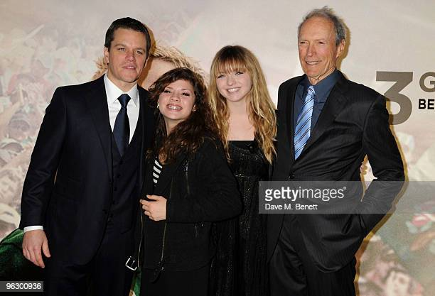 Matt Damon and Clint Eastwood with his daughters Francesca and Morgan arrive at the UK film premiere of 'Invictus' at Odeon West End on January 31...