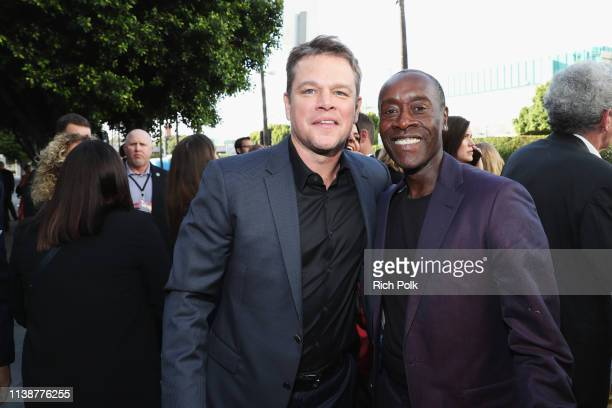 Matt Damon and Don Cheadle attend the Los Angeles World Premiere of Marvel Studios' Avengers Endgame at the Los Angeles Convention Center on April 23...