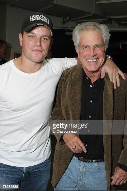 TORONTO CANADA SEPTEMBER 7 Matt Damon and father Kent Damon at the Premiere of Warner Bros Michael Clayton during the 2007 Toronto International Film...