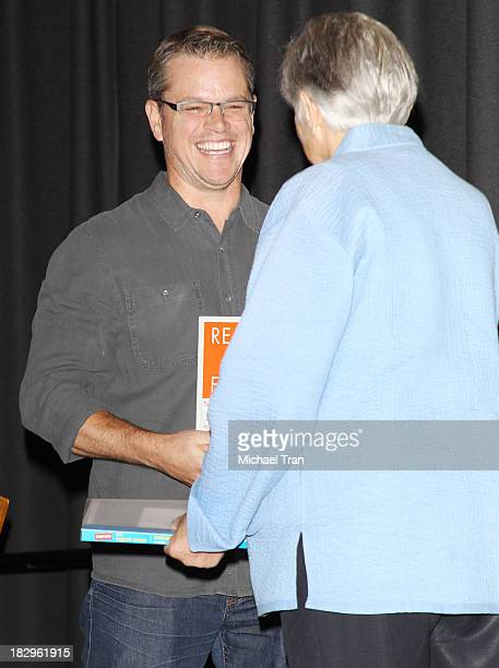 """Matt Damon and Former U.S. Assistant Secretary of Education Diane Ravitch attend Cal State Northridge's """"Education On The Edge"""" lecture series held..."""