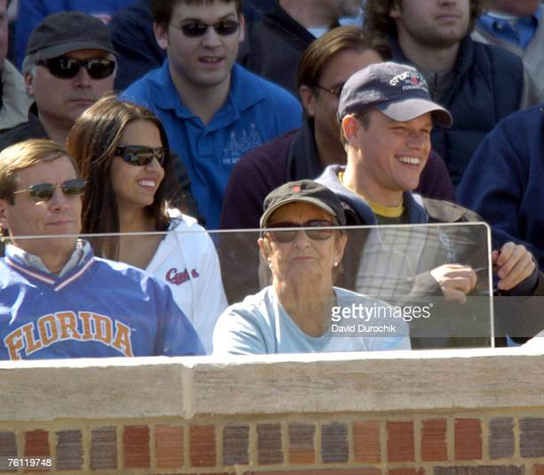 Matt Damon and girlfriend Luciana Bozan Barroso enjoy a day at Wrigley Field watching the Chicago Cubs beat the Pittsburgh Pirates 83