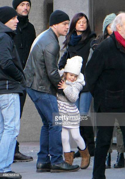 Matt Damon and his family sighted walking in BerlinMitte on November 22 2015 in Berlin Germany