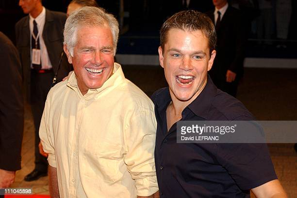 Matt Damon and his father were at the thirtieth American movie festival for their last creation 'The Bourne Supremacy' in Deauville France on...