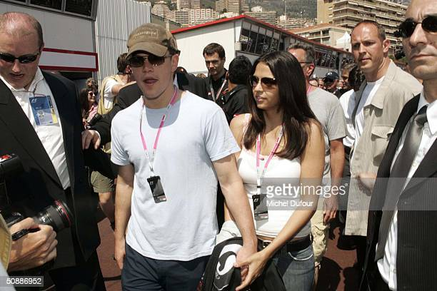 Matt Damon and his girlfriend, interior designer Luciana Bozan , take a guided tour of the Jaguar garage as the official guests of Jaguar Racing...