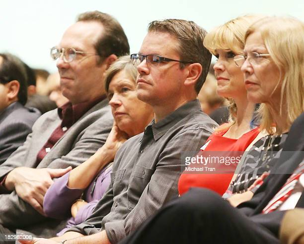 """Matt Damon and his mom, Nancy Carlsson-Paige attend Cal State Northridge's """"Education On The Edge"""" lecture series held at California State University..."""