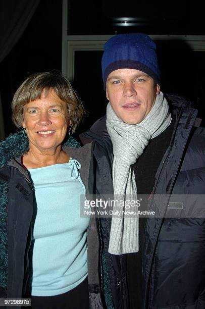 Matt Damon and his mother, Nancy Carlsson-Paige, a professor at Lesley University, are at LINK Restaurant for the opening night party for the play...