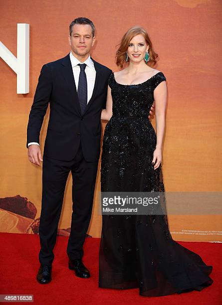 """Matt Damon and Jessica Chastain attend the European premiere of """"The Martian"""" at Odeon Leicester Square on September 24, 2015 in London, England."""