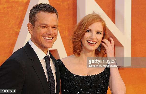 Matt Damon and Jessica Chastain attend the European premiere of 'The Martian' at Odeon Leicester Square on September 24 2015 in London England