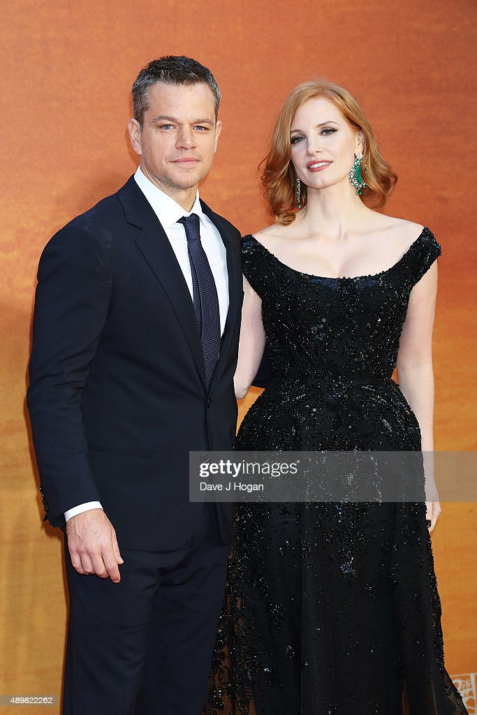 Matt Damon (L) and Jessica Chastain attend the European premiere of 'The Martian' at Odeon Leicester Square on September 24, 2015 in London, England.