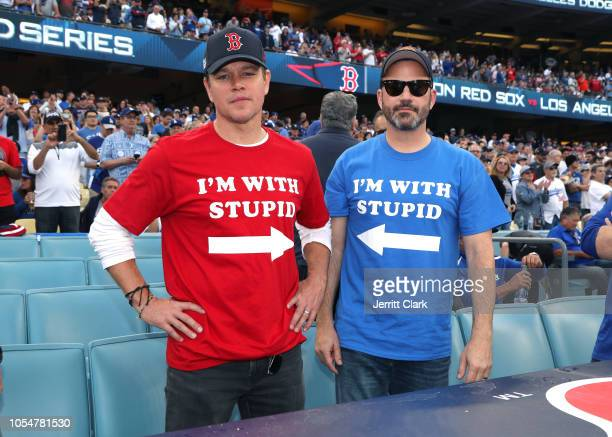 Matt Damon and Jimmy Kimmel attend The Los Angeles Dodgers Game - World Series - Boston Red Sox v Los Angeles Dodgers - Game Five at Dodger Stadium...