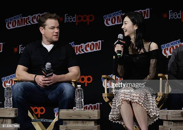 Matt Damon and Jing Tian attend The Great Wall panel during the 2016 New York Comic Con day 3 on October 8 2016 in New York City