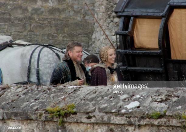 "Matt Damon and Jodie Comer are seen on set of ""The Last Duel"" on September 30, 2020 in Dublin, Ireland."
