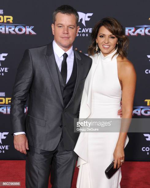 Matt Damon and Luciana Barroso arrive at the premiere of Disney and Marvel's Thor Ragnarok at the El Capitan Theatre on October 10 2017 in Los...