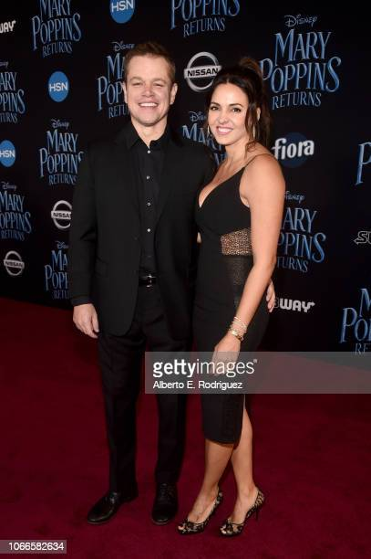 Matt Damon and Luciana Barroso attend Disney's 'Mary Poppins Returns' World Premiere at the Dolby Theatre on November 29, 2018 in Hollywood,...