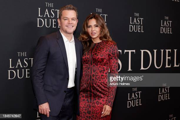 """Matt Damon and Luciana Barroso attend """"The Last Duel"""" New York Premiere at Rose Theater at Jazz at Lincoln Center's Frederick P. Rose Hall on October..."""