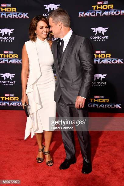 Matt Damon and Luciana Barroso attend the premiere of Disney and Marvel's Thor Ragnarok on October 10 2017 in Los Angeles California