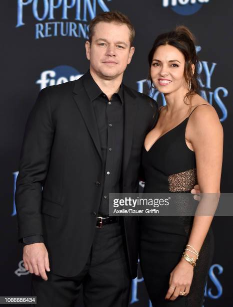 Matt Damon and Luciana Barroso attend the premiere of Disney's 'Mary Poppins Returns' at El Capitan Theatre on November 29 2018 in Los Angeles...