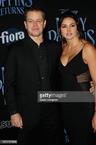 Matt Damon and Luciana Barroso attend the Premiere Of Disney's Mary Poppins Returns at El Capitan Theatre on November 29 2018 in Los Angeles...
