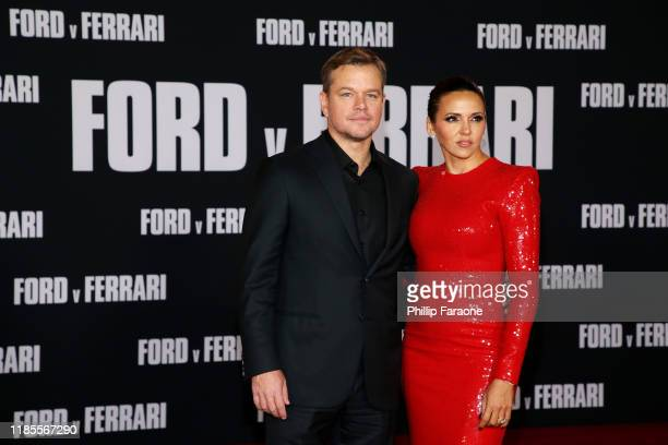 """Matt Damon and Luciana Barroso attend the premiere of FOX's """"Ford V Ferrari"""" at TCL Chinese Theatre on November 04, 2019 in Hollywood, California."""