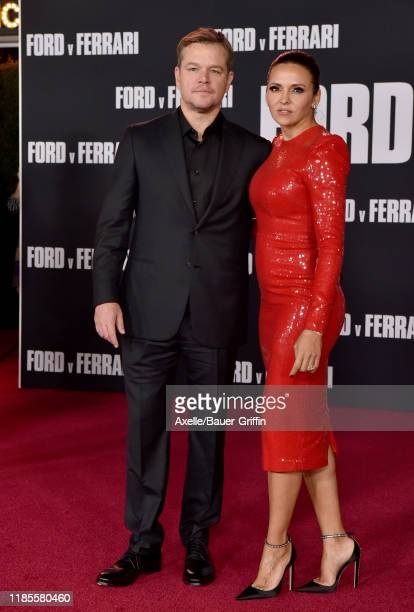 Matt Damon and Luciana Barroso attend the Premiere of FOX's Ford v Ferrari at TCL Chinese Theatre on November 04 2019 in Hollywood California
