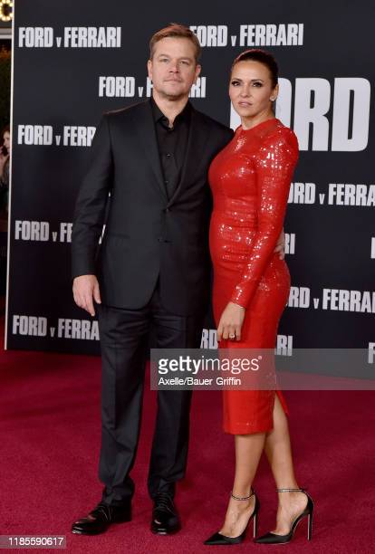 "Matt Damon and Luciana Barroso attend the Premiere of FOX's ""Ford v Ferrari"" at TCL Chinese Theatre on November 04, 2019 in Hollywood, California."