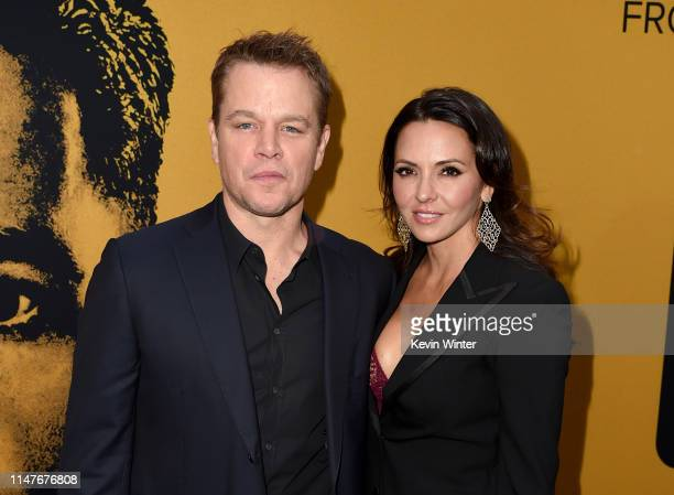 """Matt Damon and Luciana Barroso attend the U.S. Premiere of Hulu's """"Catch-22"""" at TCL Chinese Theatre on May 07, 2019 in Hollywood, California."""