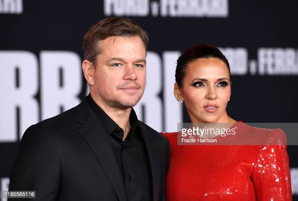 "Matt Damon and Luciana Barroso attends Premiere Of FOX's ""Ford V Ferrari"" at TCL Chinese Theatre on November 04, 2019 in Hollywood, California."