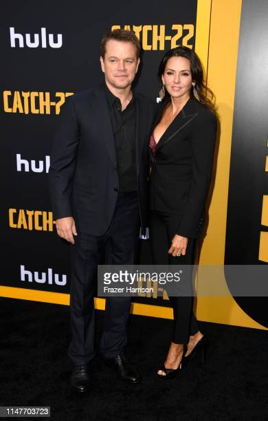 """Matt Damon and Luciana Barroso attends the U.S. Premiere Of Hulu's """"Catch-22"""" at TCL Chinese Theatre on May 07, 2019 in Hollywood, California."""