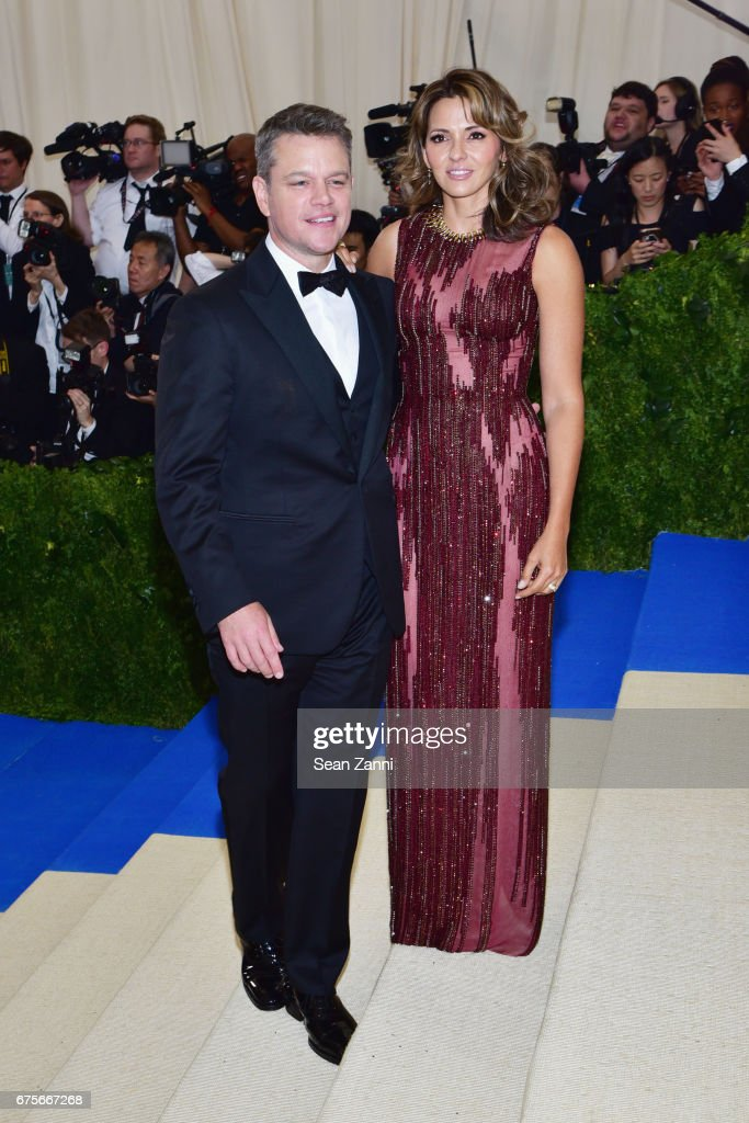 Matt Damon (L) and Luciana Damon arrive at 'Rei Kawakubo/Comme des Garcons: Art Of The In-Between' Costume Institute Gala at The Metropolitan Museum on May 1, 2017 in New York City.