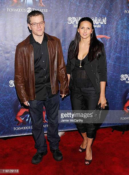 Matt Damon and Luciana Damon attend SpiderMan Turn Off The Dark Broadway opening night at Foxwoods Theatre on June 14 2011 in New York City